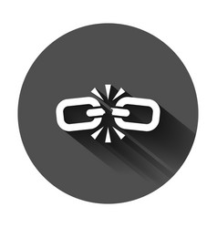 broken chain sign icon in flat style disconnect vector image