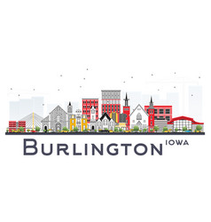 Burlington iowa skyline with color buildings vector