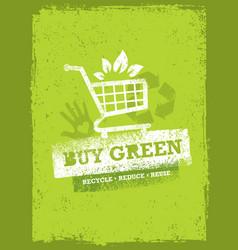 buy green eco shopping cart organic food nature vector image