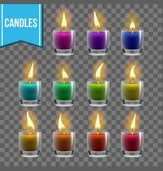 candles set glass jar christmas lighter vector image