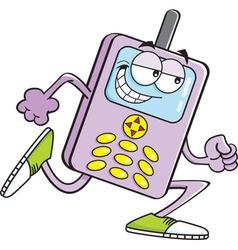 Cartoon cell phone running vector