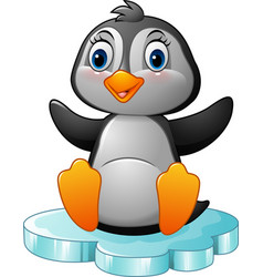 Cartoon penguin sitting on floe vector