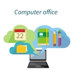 Computer Office Concept Flat Design Icon vector image