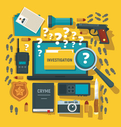 Crime investigation concept background flat style vector