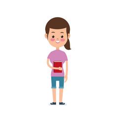 Cute girl student elementary cheerful vector