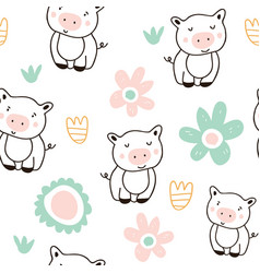 cute pigs characters colorful seamless pattern vector image