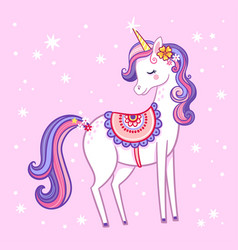 cute unicorn with closed eyes is standing on a vector image