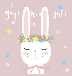 cute white bunny on bashower card invitation vector image