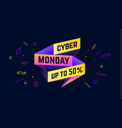 cyber monday 3d sale banner with text vector image