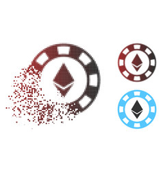 Dissolved dot halftone ethereum casino chip icon vector