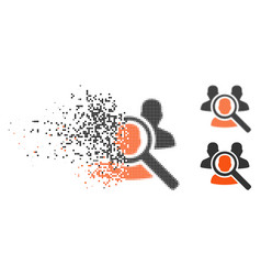 Dissolving pixelated halftone search patient icon vector
