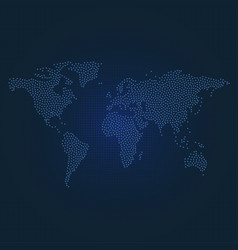 dotted world map on dark blue dotted background vector image