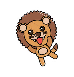 Drawing lion animal character vector