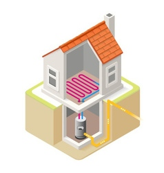 Energy Chain 04 Building Isometric vector