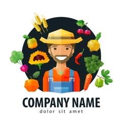 Farmer fruiterer logo design template vector