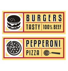 fast food labels and signs for burger and pizza vector image