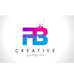 Fb f b letter logo with shattered broken blue vector