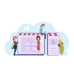 female online shopping cartoon women vector image