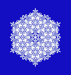 flat design with abstract white snowflakes vector image