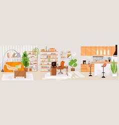 flat set home living and work interiors vector image