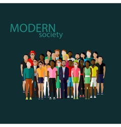 Flat society members with a large group men vector