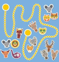 Funny cartoon animals game for Preschool Children vector image