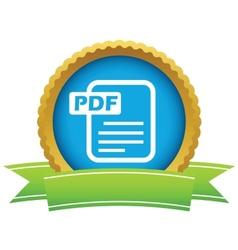Gold pdf logo vector image
