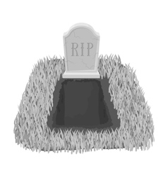 Grave icon in monochrome style isolated on white vector image