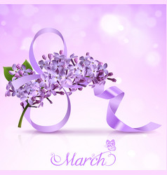 Greeting card with the eighth of march and vector