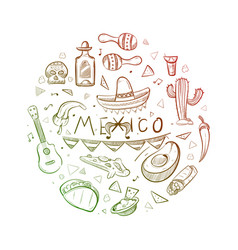 Hand drawn mexican symbols - sketch mexico logo vector