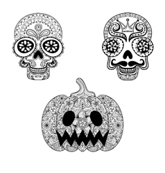Hand drawn Skulls and Pumpkin in zentangle style vector