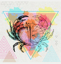 hipster realistic and polygonal crab vector image