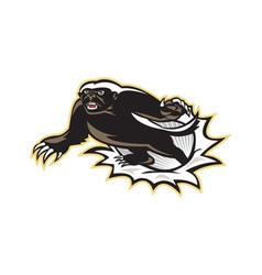 Honey Badger Mascot Jumping vector image