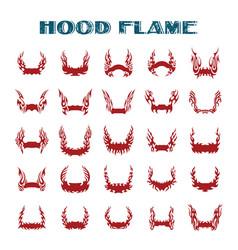 Hood flame vinyl ready flames set great vector