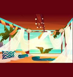 hotel terrace on tropical beach cartoon vector image