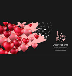 I love you design with heart balloon pink brush vector