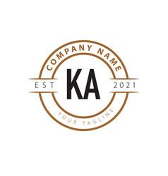 Initial letter ka vintage logo design template vector