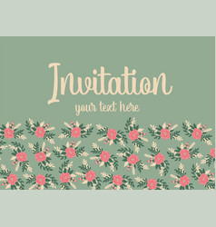invitation card template flat flowers cute vector image
