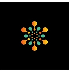 Isolated abstract orange and green color flower vector image