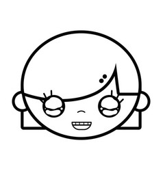 line child girl face with hairstyle design vector image