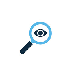 magnifying glass with eye analysis icon isolated vector image