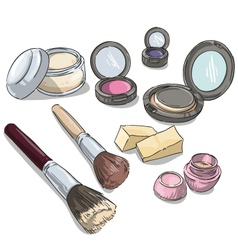 Makeup products vector