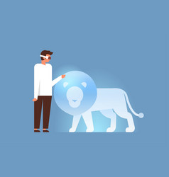 man wear digital glasses touch virtual reality vector image