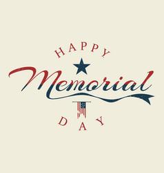 memorial day letter background or banner design vector image