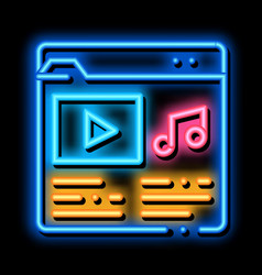 Music folder with songs neon glow icon vector