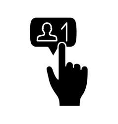 New follower button click glyph icon vector