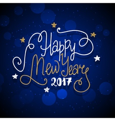 New Year hand drawn lettering on dark blue vector