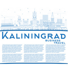 Outline kaliningrad russia city skyline with blue vector