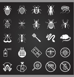 pest icons set on black background for graphic and vector image