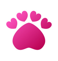 pet care icon in love symbol in animal footprint vector image
